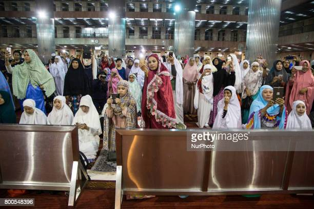 Muslim celebrate Takbiran Night to celebrate the eid fitr that will held on 25 June 2017 opened by Istiqlal Mosque in Jakarta Indonesia on 24 June...