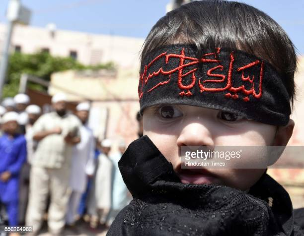 Muslim child takes part in a mourning procession marking the day of Ashura 10 MuharramulHaram at Shia Jama Masjid Kashmiri Gate on October 1 2017 in...