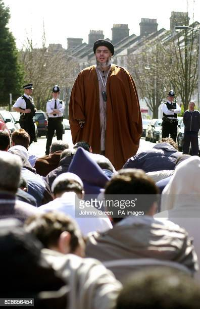 Muslim cleric Abu Hamza addresses an audience of around 120 during lunchtime prayers outside Finsbury Park Mosque in north London Mr Hamza today...