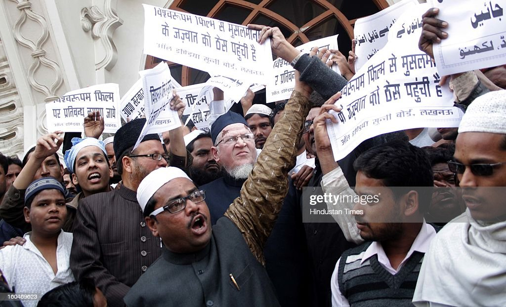 Muslim Clerics under the banner of All India Sunni Board registered a protest demanding removal of the objectionable scenes from the Kamal Hassan's controversial movie Vishwaroopam on February 1, 2013 in Lucknow, India. The film that was banned in Tamil Nadu and was facing security threats with some Muslim groups taking objection to certain scenes in the movie as hurting their religious sentiments.