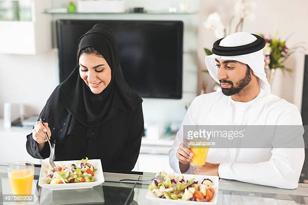 Muslim Couple Having a Healthy Lunch