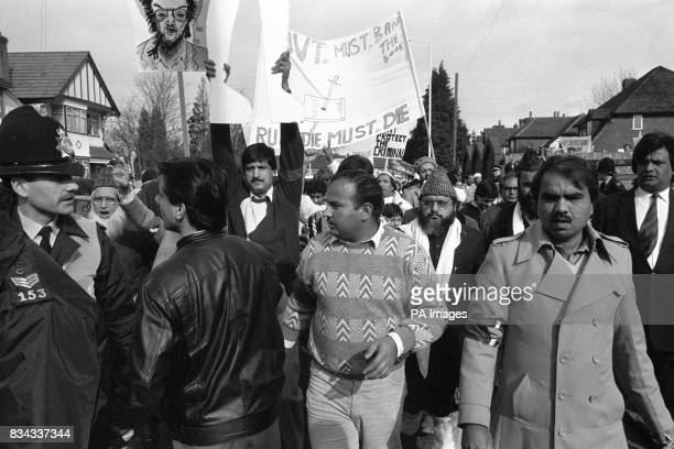 Muslim demonstrators protest in Slough about Salman Rushdie's book The Satanic Verses