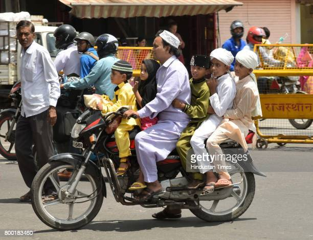 Muslim family going to offer namaz at Jama Masjid on June 23 2017 in Jaipur India
