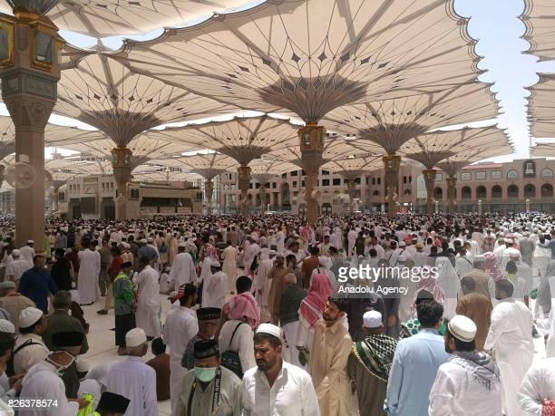 Muslim gather to perform Friday Prayer at Masjid alNabawi in Medina Saudi Arabia on August 4 2017