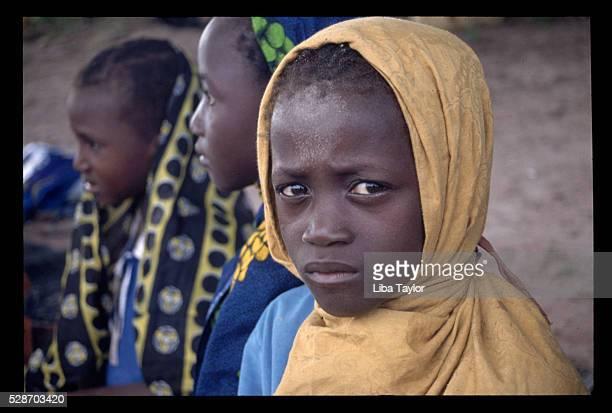 Muslim Girls Wearing Head Coverings in The Gambia