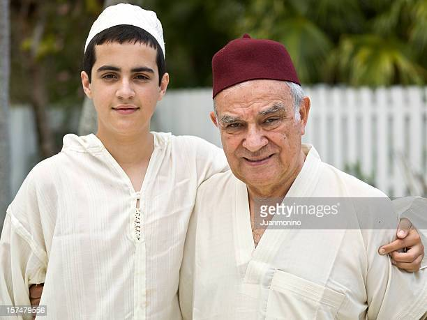 Muslim grandfather and his grandson