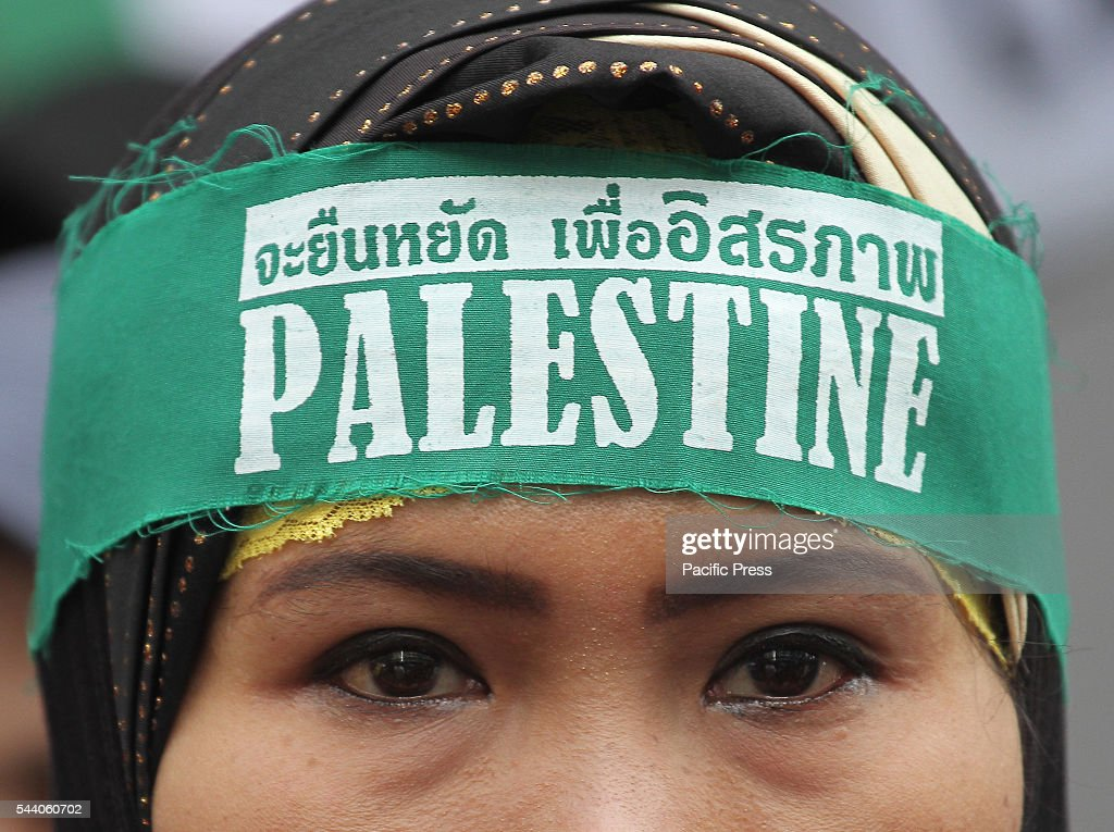 Muslim groups of Al Kut International Confederation of Thailand stage a protest at the Israeli embassy in Thailand during a power show of force day. Al Kut International and Liberation day demanded the return of Al-Aqsa mosque and denounced the occupation of Palestine by Zionism state.
