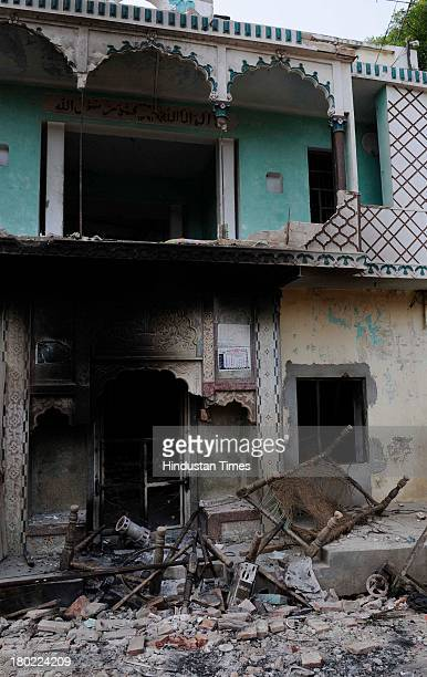 Muslim house burnt during communal clash at Kangda village on September 10 2013 in Muzaffarnagar India No untoward incident was reported from...