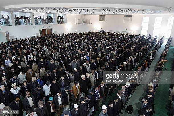 Muslim men pray at Baitul Futuh Mosque in Morden on February 18 2011 in London England Around five thousand Muslim men and women converged at the...