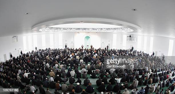 Muslim men pray at Baitul Futuh Mosque in Morden on February 18 2011 in London EnglandAround five thousand Muslim men and women converged at the...