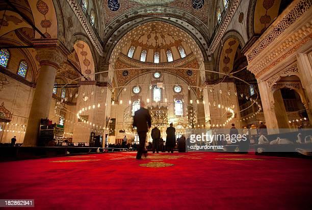 Muslim men praying inside the Blue Mosque