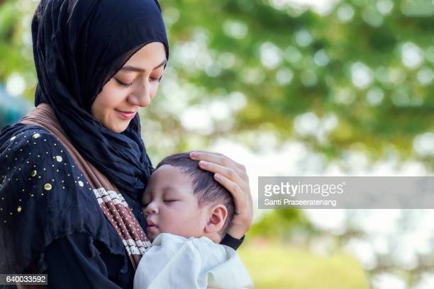 Muslim mother and little baby