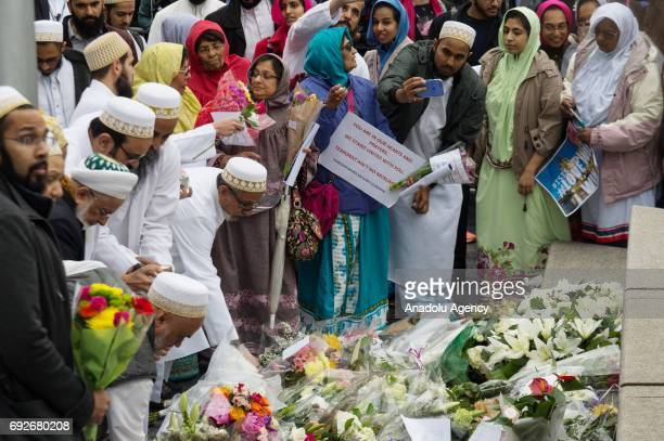 Muslim people attend a vigil at City Hall to honour victims of the London Bridge terrorist attack in London England on June 05 2017 This follows the...