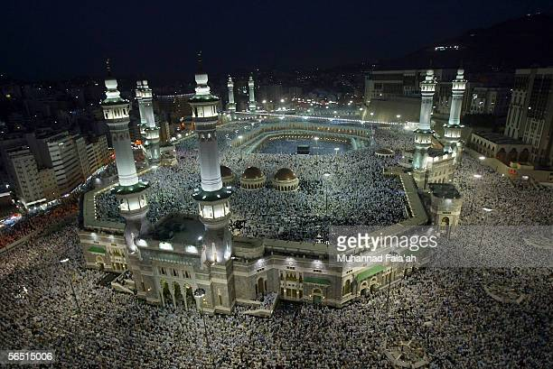 Muslim pilgrims attend the evening prayers inside the Grand Mosque and holy Kabba the holiest places for Muslims around the world on January 3 2006...
