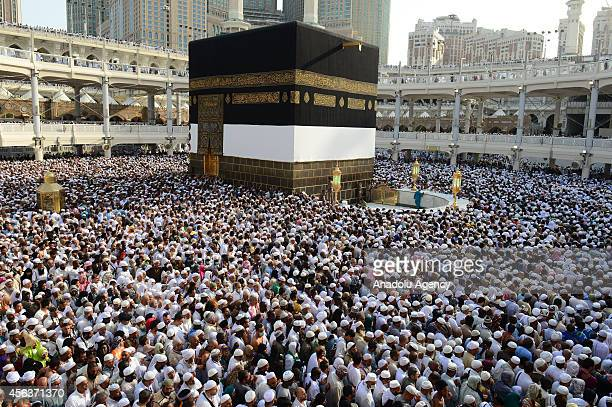 Muslim pilgrims from all around the world circle counterclockwise Islam's holiest shrine the Kaaba ahead of upcoming Eid AlAdha at Masjid alHaram in...