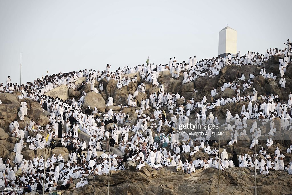 Muslim pilgrims gather on Mount Arafat near Mecca to take part in one of the Hajj rituals on October 3 2014 The pilgrims perform a series of rituals...
