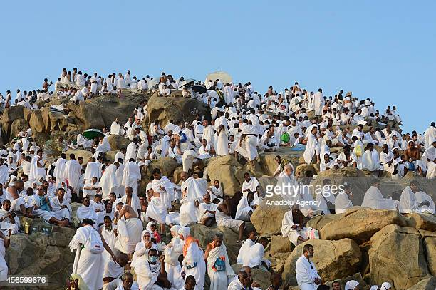 Muslim pilgrims gather to pray on Mount Arafat also known as Mount of Mercy near Mecca as they take part in one of the Hajj rituals on October 3 2014...