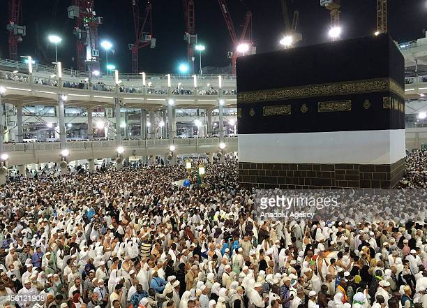 Muslim pilgrims gathering for the annual Hajj pilgrimage circle counterclockwise toward the Kaaba Islam's holiest shrine at Masjid alHaram in the...