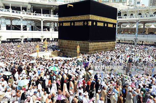Muslim pilgrims return to Mecca for the farewell circumambulation after leaving the devilstoning site of Mina as the annual hajj pilgrimage is soon...