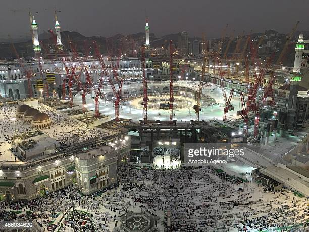 Muslim pilgrims worship around the Kaaba at the Masjid alHaram as expansion and construction works continue ahead of the start of the annual hajj...