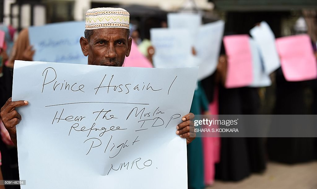 A Muslim protester gathers outside the UN office in Sri Lankas capital Colombo to protest UN rights chief Zeid Raad Al Hussein failure to meet with them during a brief four-day visit that ended on February 9, 2016. Zeid was visiting the island to gauge progress in ensuring accountability for war-time atrocities in the country emerging form a decades-long Tamil separatist war. AFP PHOTO/ Ishara S. KODIKARA / AFP / Ishara S.KODIKARA