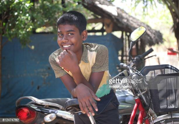 Muslim Sri Lankan boy gestures to camera in Colombo the capital of Sri Lanka on July 10 2017 An island country Sri Lanka is famous with its spice and...