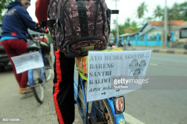 Muslim students travelers during checking the condition of the bike to go home to celebrate Eid AlFitr in the area of Comal Central Java on June2017...