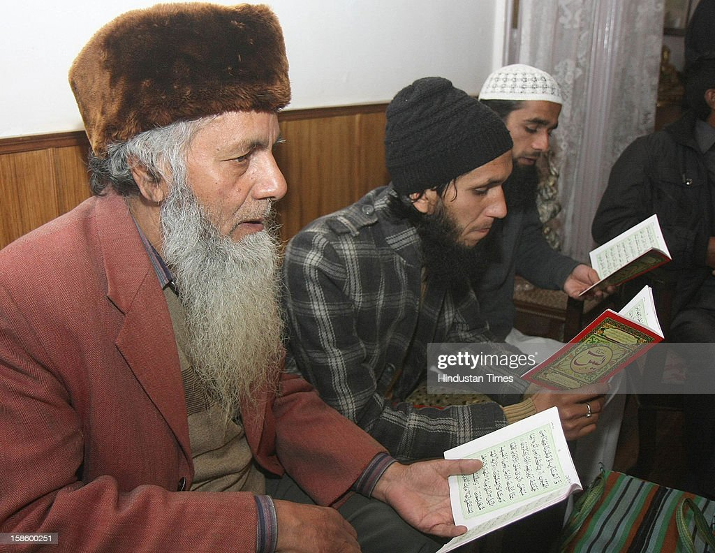 Muslim supporters reading Quran-E-Sharif during vote counting, for Congress leader Virbhadra Singh at his residence at Holy Lodge, on December 20, 2012 in Shimla, India. The opposition Congress drubbed the BJP in Himachal Pradesh assembly polls winning 36 out of 68 seats, while BJP got 26 seats. Congress Party declared winner in Himachal Pradesh State Assembly Poll 2012.