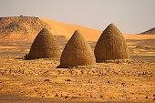 Muslim cemetery in the desert, in Old Dongola, Sudan