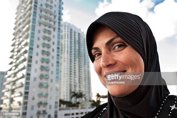 Femme musulmane sur la ville