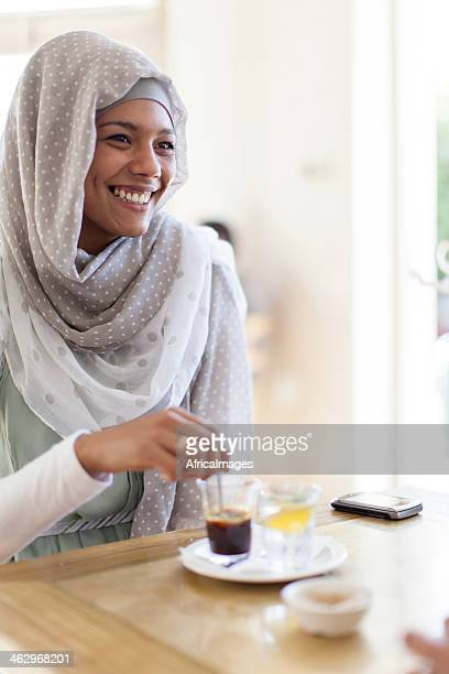 Muslim woman having a coffee in Cape Town