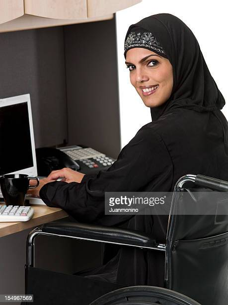 Muslim woman in wheelchair