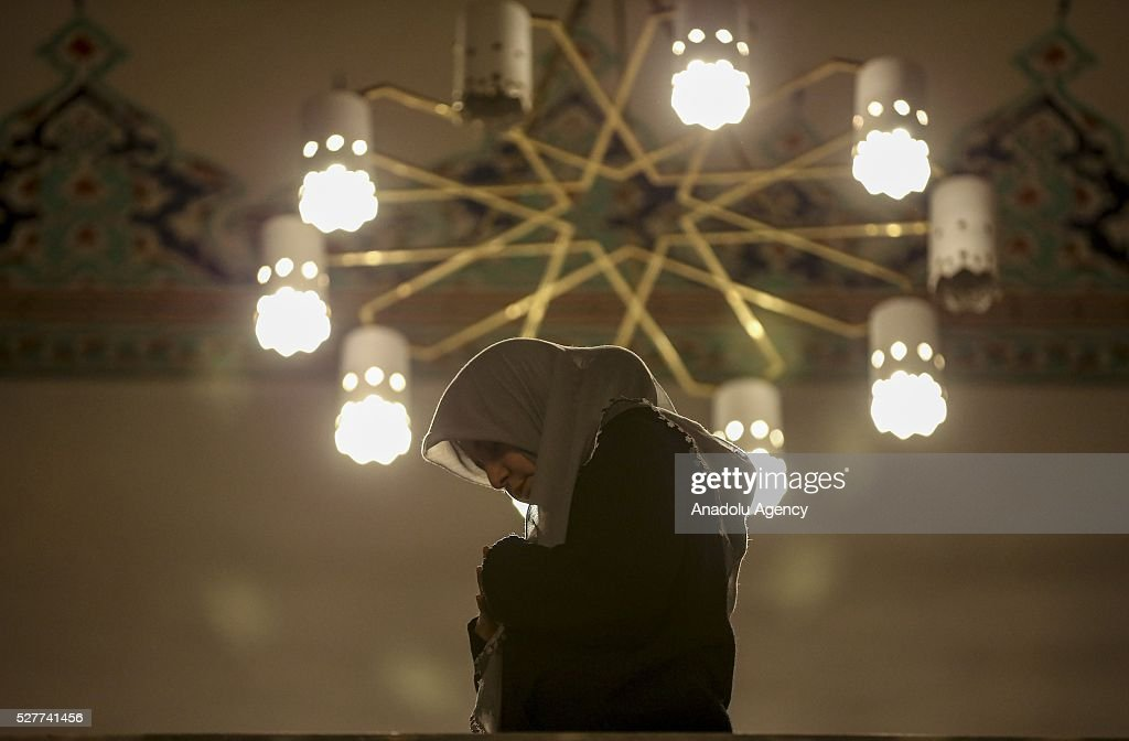 A Muslim woman performs prayer during Miraj Night or Lailat al Miraj, one of the Muslims' five holiest night around a year, at the Kocatepe Mosque in Ankara, Turkey on May 3, 2016.