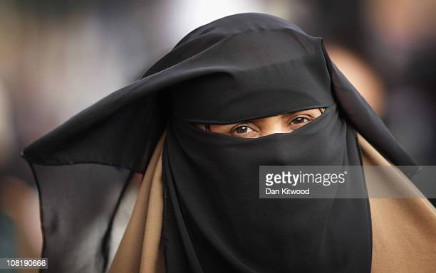 Muslim woman shops in Whitechapel on January 20 2011 in London England Baroness Warsi the cochairman of the Conservative Party spoke at Leicester...