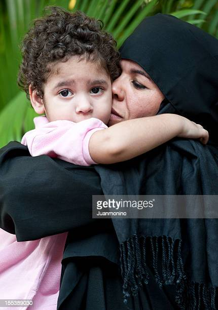 Muslim woman with her son
