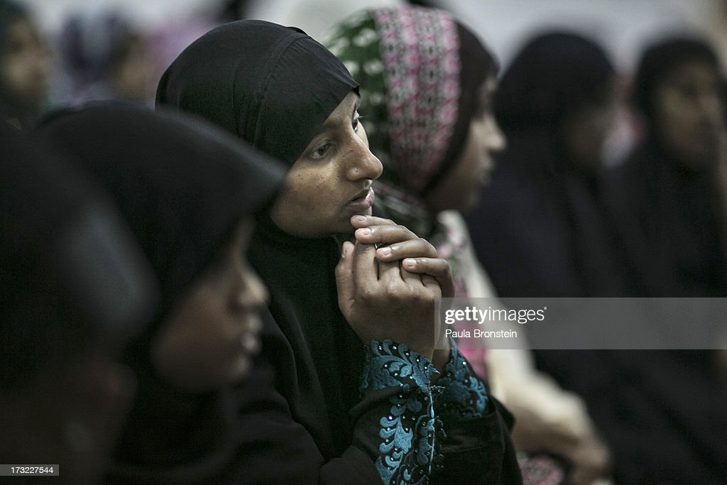 Muslim women attend a special evening Ramadan prayer at the Juma Masjid July 10, 2013 in Colombo, Sri Lanka. The ninth month of the Islamic calendar is observed as a month of fasting by Muslims across the globe. In Sri Lanka there are three distinct groups making up the Muslim community; the Sri Lankan Moors, the Indian Muslims and the Malays. Women in Sri Lanka are under pressure by the Budhist activist group, the Bodu Bala Sena to not wear the wear the traditional niqab.