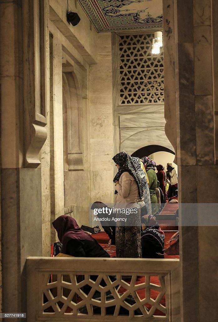 Muslim women perform prayer during Miraj Night or Lailat al Miraj, one of the Muslims' five holiest night around a year, at the Kocatepe Mosque in Ankara, Turkey on May 3, 2016.