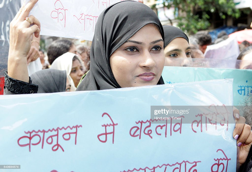 Muslim women protest against the Muslim Law Board and on Imarana issue on July 23, 2016 in Mumbai, India.