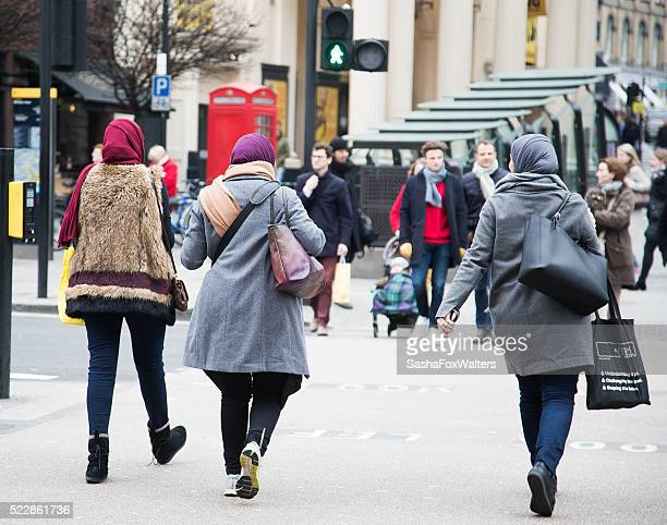 Muslim women wearing hijabs in London