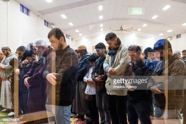 Muslim worshipers perform prayer before observing Iftar on Laylat AlQadr in the Muslim holy fasting month of Ramadan at Emir Sultan Mosque in...