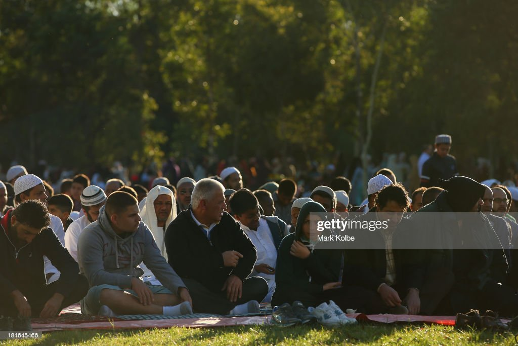 Muslim worshippers prepare for morning prayer at Bicentennial Park, Homebush Bay on October 15, 2013 in Sydney, Australia. Eid Al-Adha, known as the 'Feast of the Sacrifice', is one of the most significant festivals on the Muslim calendar. The holiday marks the end of the Haji Pilgrimage and serves as day to remember the Islamic profit Ibrahim, and his willingness to sacrifice his son to God.