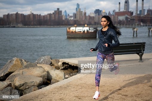 #MuslimGirl Working Out : Stock Photo
