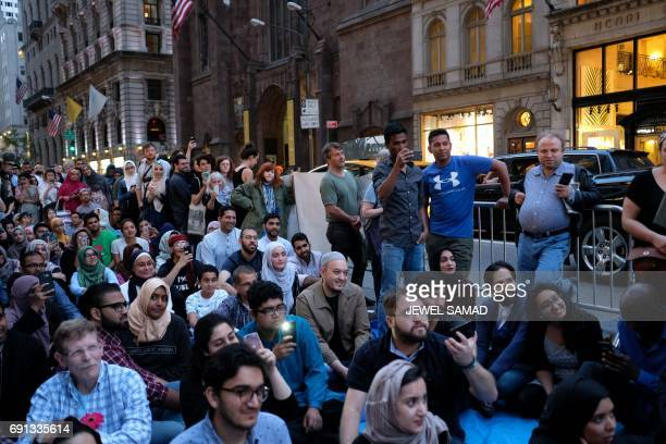 Muslims and supporters wait for Iftar breaking fast during their holy month of Ramadan when Muslim devotees around the world fast from dawn to dusk...