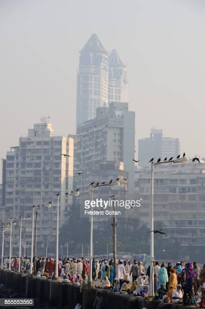 Muslims are going to Haji Ali Mausoleum in Mumbai on February 16 2015 in Mumbai on April 14 2010 in Mumbai India