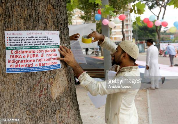 Muslims attach signs in memory of victims of the terrorist attack of Barcelona floods in Bangladesh persecutions against Muslims in Myanmar and...