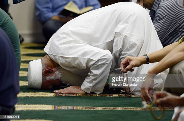 Muslims attend Friday prayer services at the Islamic Center of Southern California on September 14 2012 in Los Angeles California Muslims in Southern...