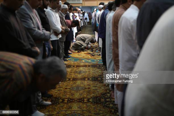 Muslims attend Friday prayers at Manchester Central Mosque where they prayed for those who were killed or injured in the Manchester Arena bombing and...