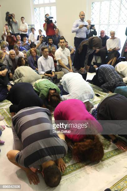 Muslims attend Friday prayers during the opening of the IbnRushdGoethe Mosque on June 16 2017 in Berlin Germany The new liberal mosque cofounded by...