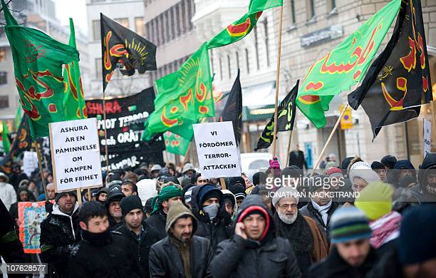 Muslims attend on December 16 2010 in Stockholm a demonstration to condemn the terror attack that took place in the city on December 11 The man who...
