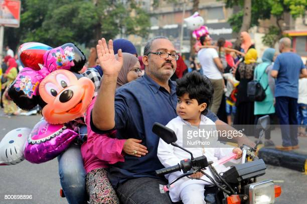 Muslims celebrate Eid alFitr marking the holy month Ramadan in Mostafa Mahmoud Mosque Giza Egypt on 25 June 2017 Egyptian Muslims offer Eid alFitr...